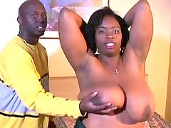 Bombshell ebony fatty takes up cock